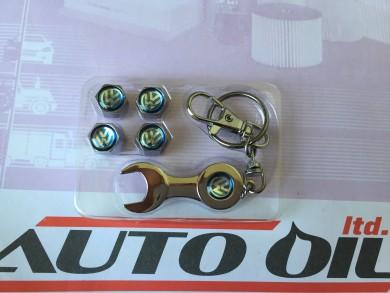 Ключодържател+капачки+ винтили VW син